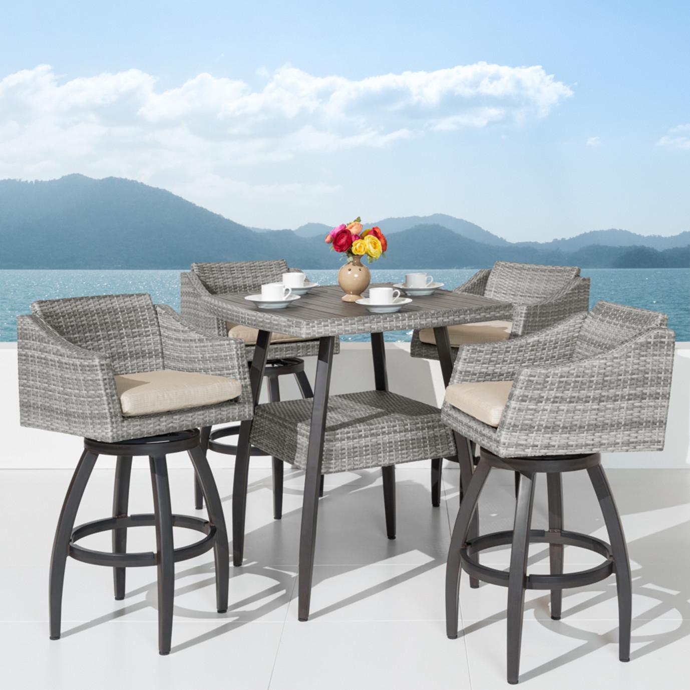 Cannes™ 5pc Barstool Set - Slate Gray
