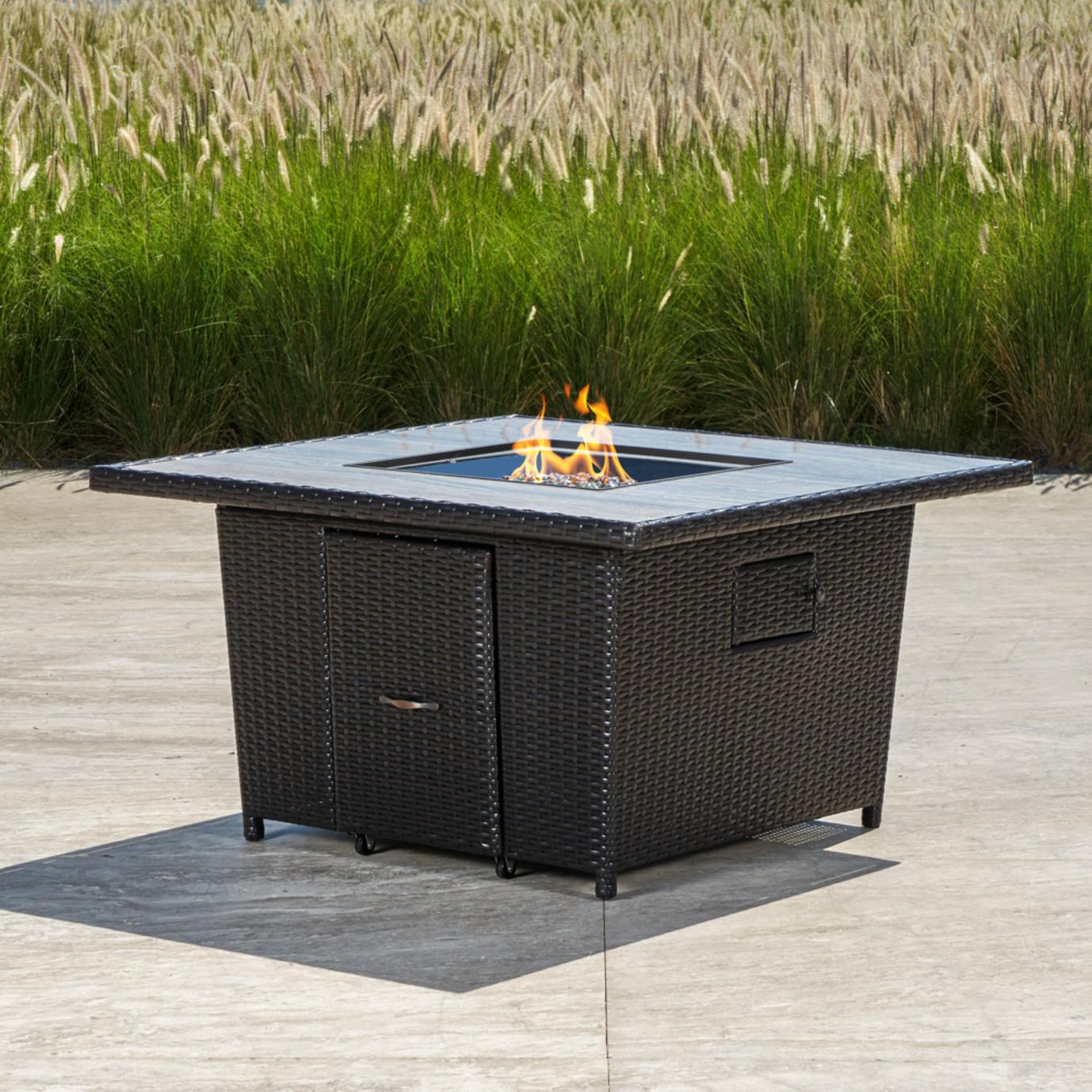 Portofino™ Comfort Stone Top Fire Table - Espresso Taupe