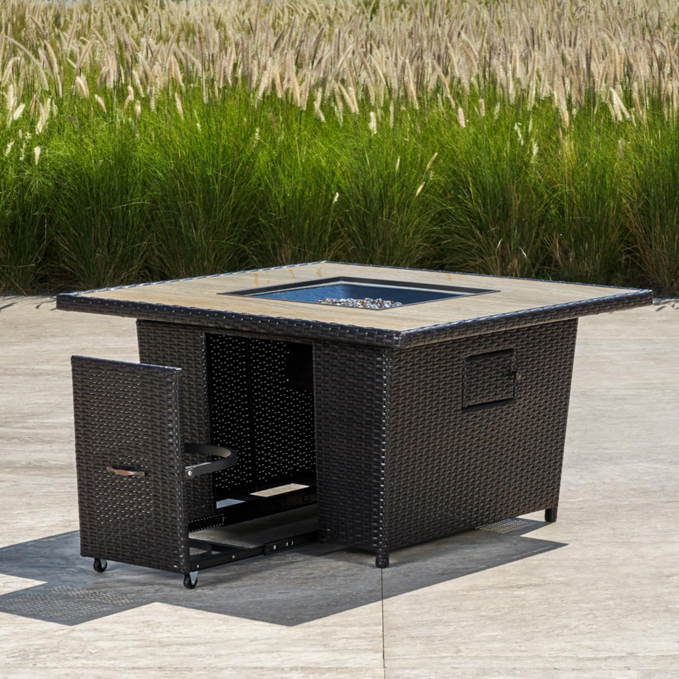 Portofino® Comfort Stone Top Fire Table - Espresso
