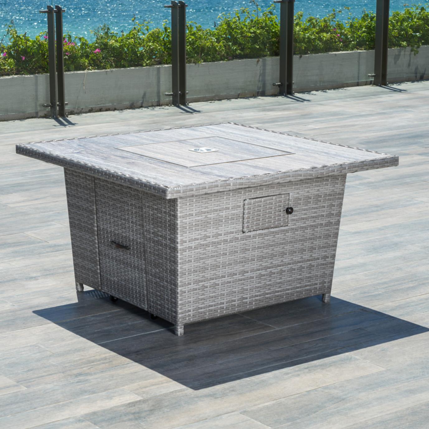 Portofino® Comfort Stone Top Fire Table - Gray