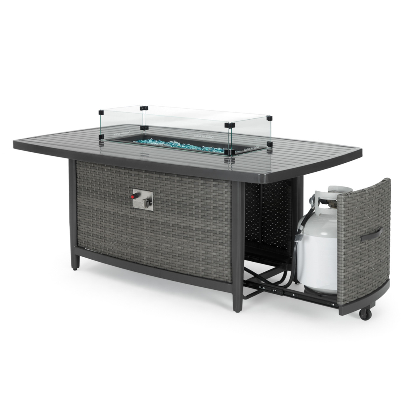 Vistano® Rectangle Aluminum Slat Fire Table