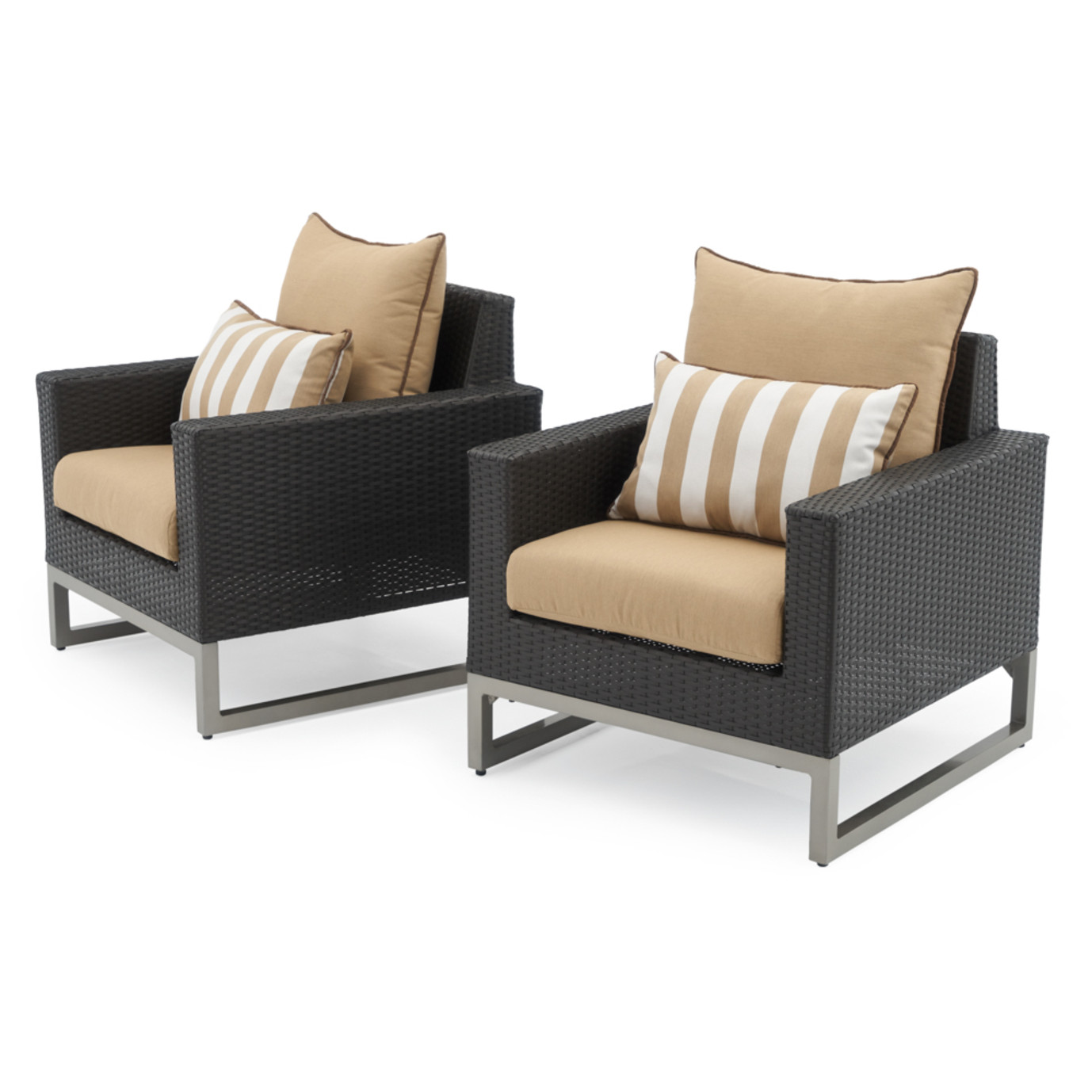 Milo™ Espresso Club Chairs - Maxim Beige