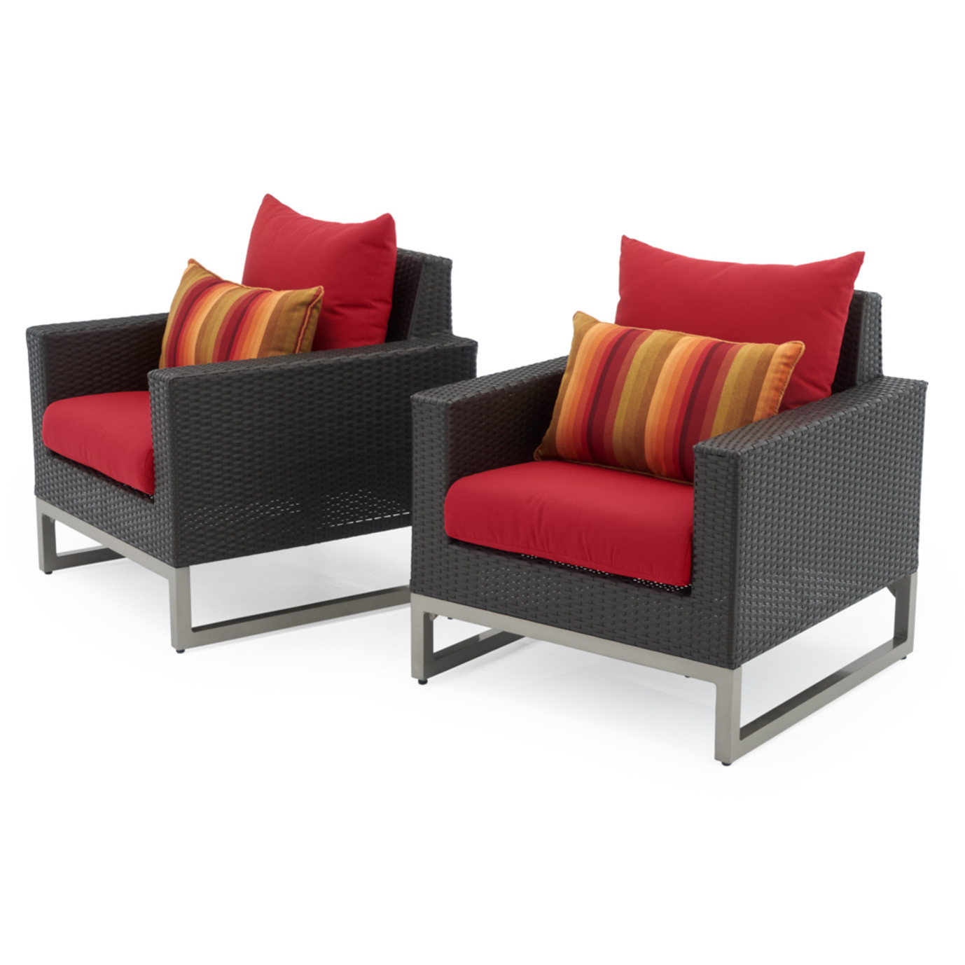 Milo™ Espresso Club Chairs - Sunset Red