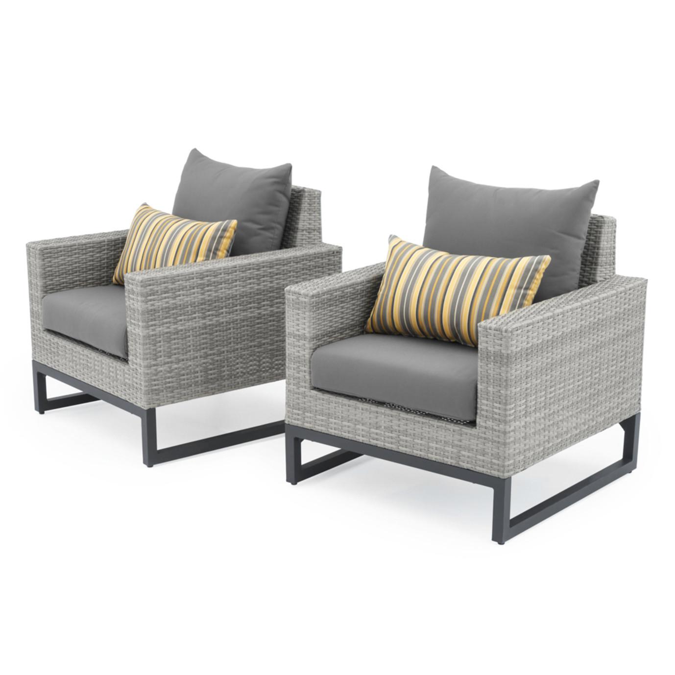 Milo™ Gray Club Chairs - Charcoal Gray