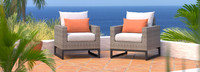 Milo™ Gray Club Chairs - Cast Coral