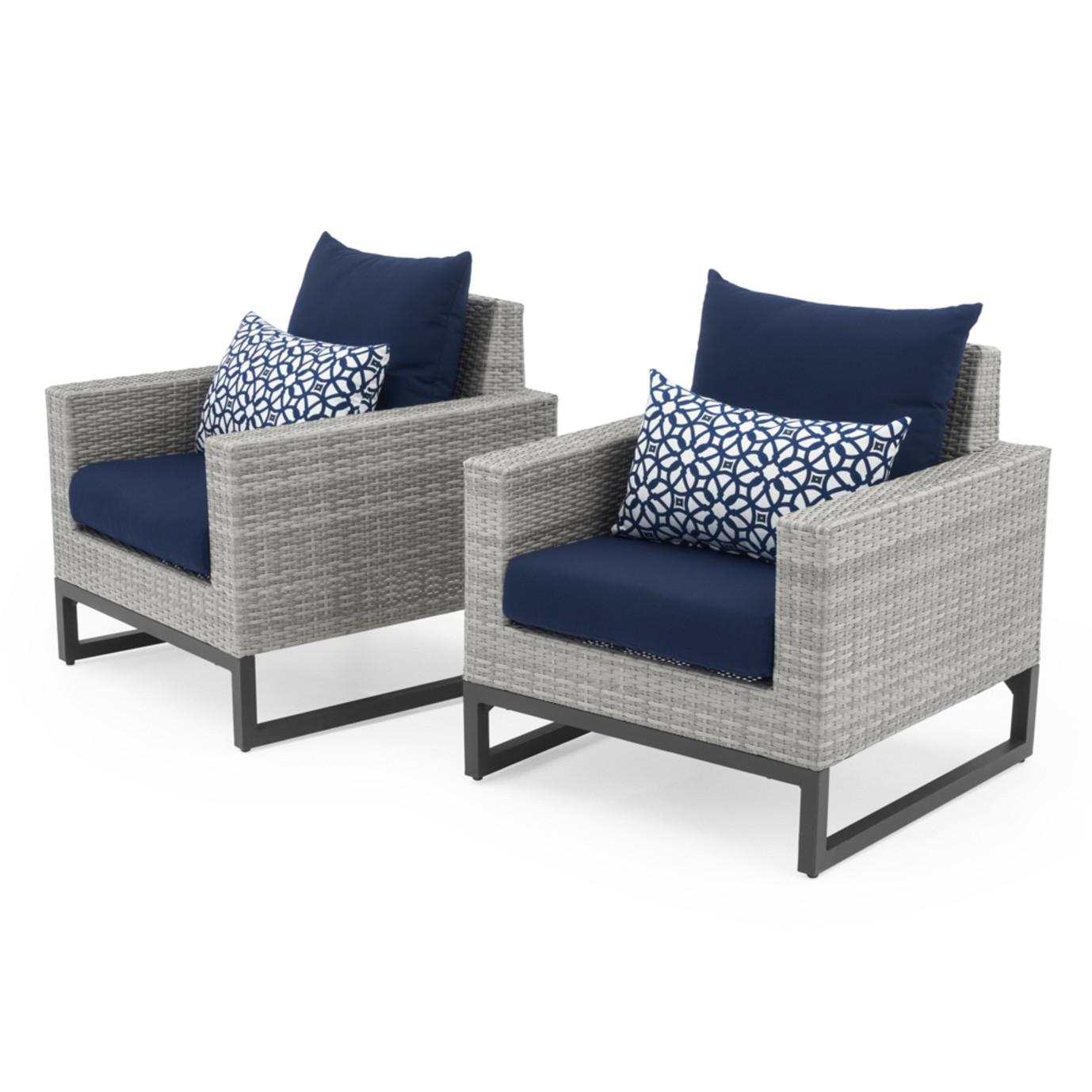 Milo™ Gray Club Chairs - Navy Blue