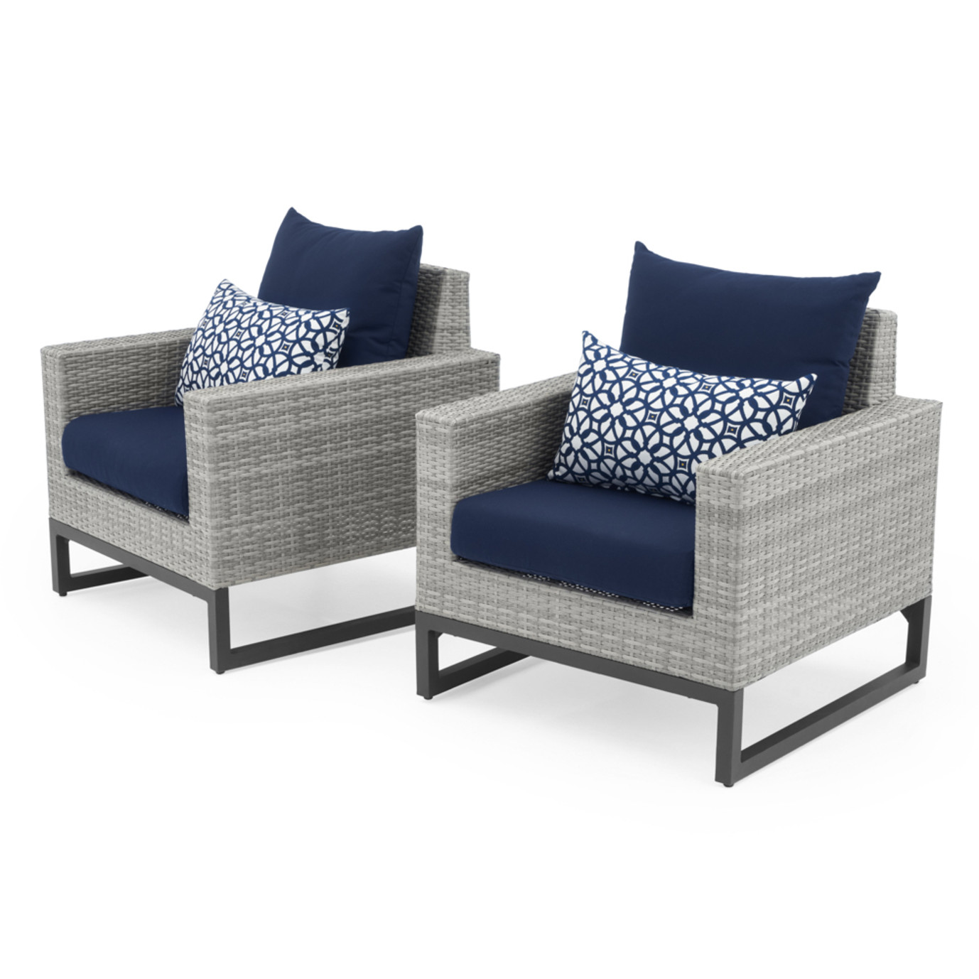 Milo™ Gray Club Chairs - Navy Blue