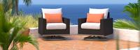 Milo™ Espresso Motion Club Chairs - Cast Coral
