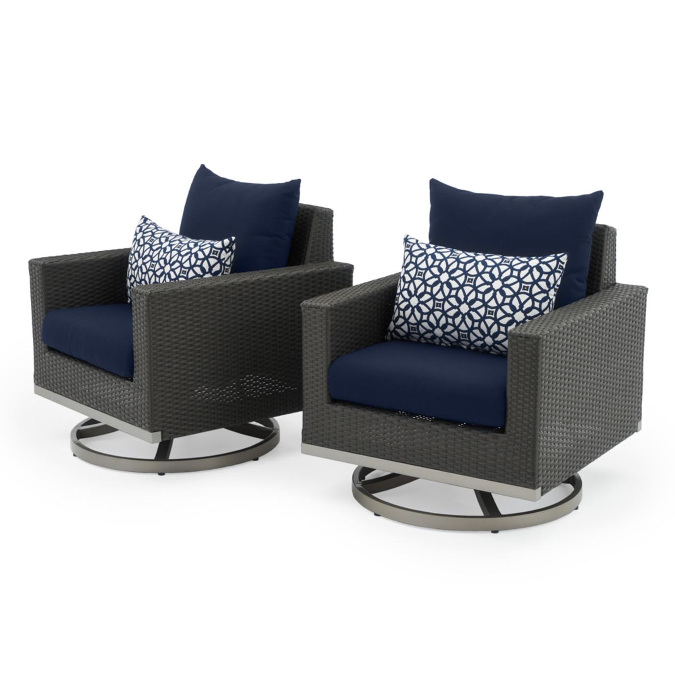 Milo™ Espresso Motion Club Chairs - Navy Blue