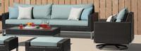 Milo™ Espresso Motion Club Chairs - Spa Blue