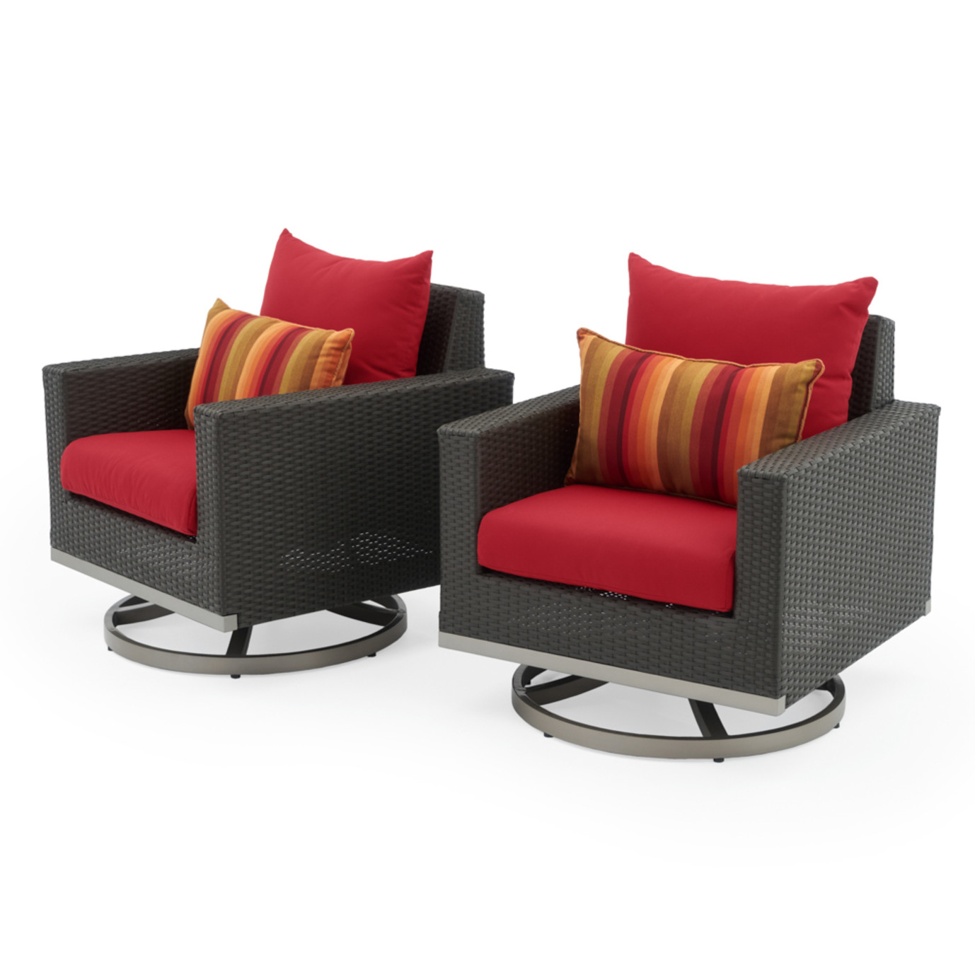 Milo™ Espresso Motion Club Chairs - Sunset Red