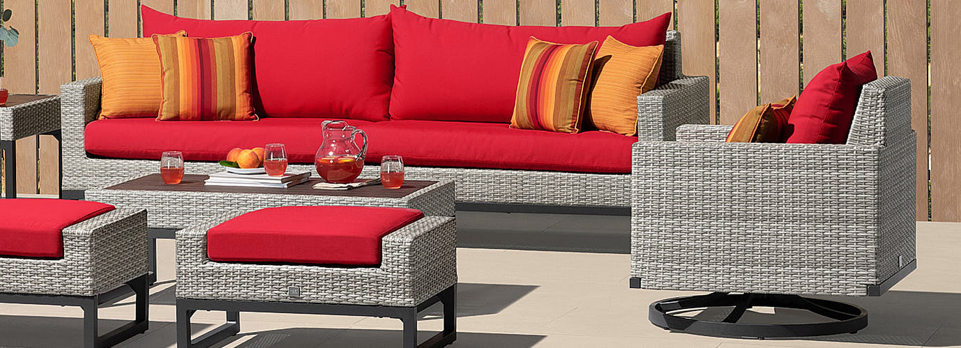 Milo™ Gray Motion Club Chairs - Sunset Red