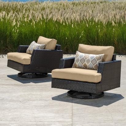 Portofino™ Comfort Motion Club Chairs - Heather Beige - Portofino Outdoor Furniture Collection RST Brands