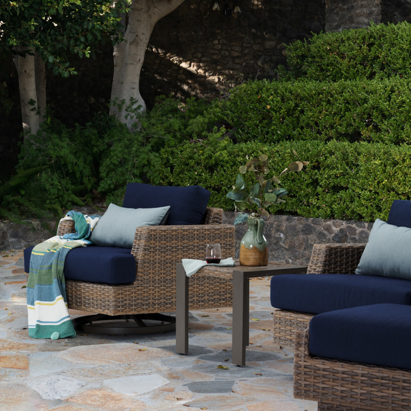 Portofino Repose Motion Club Chairs - Laguna Blue