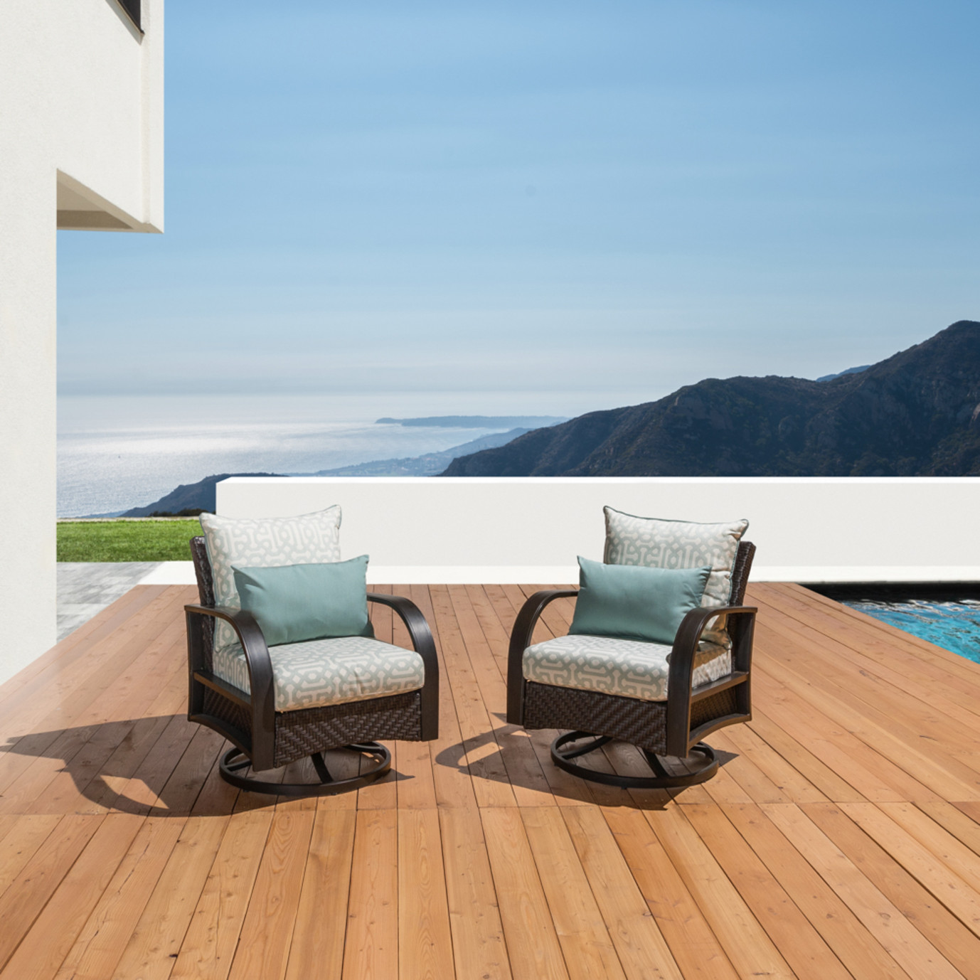 Barcelo™ Deluxe Motion Club Chairs - Spa Blue