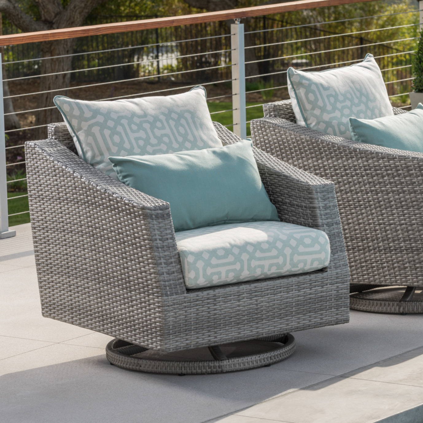 Cannes™ Deluxe Motion Club Chairs - Spa Blue