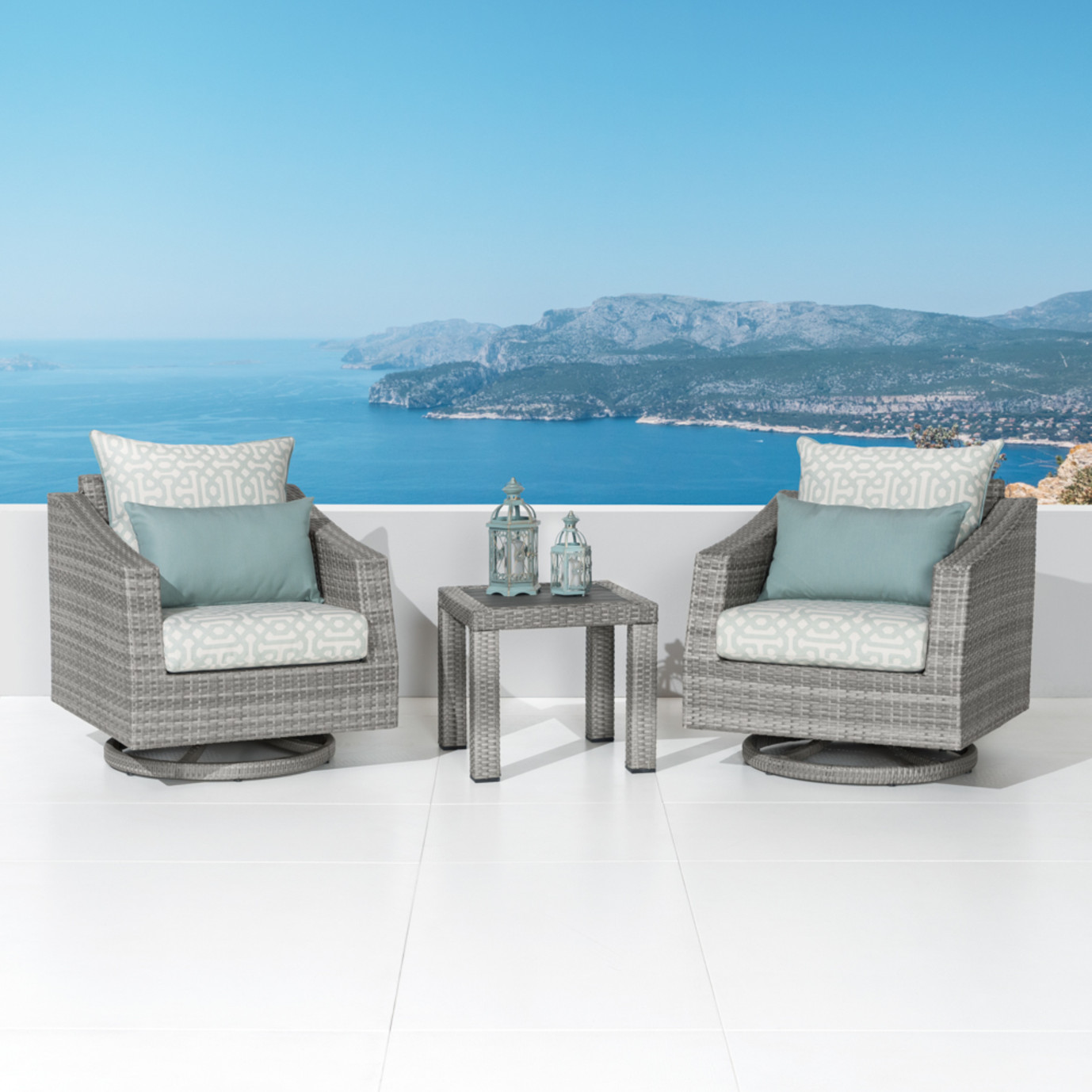 Cannes™ Deluxe Motion Club Chairs & Side Table - Spa Blue