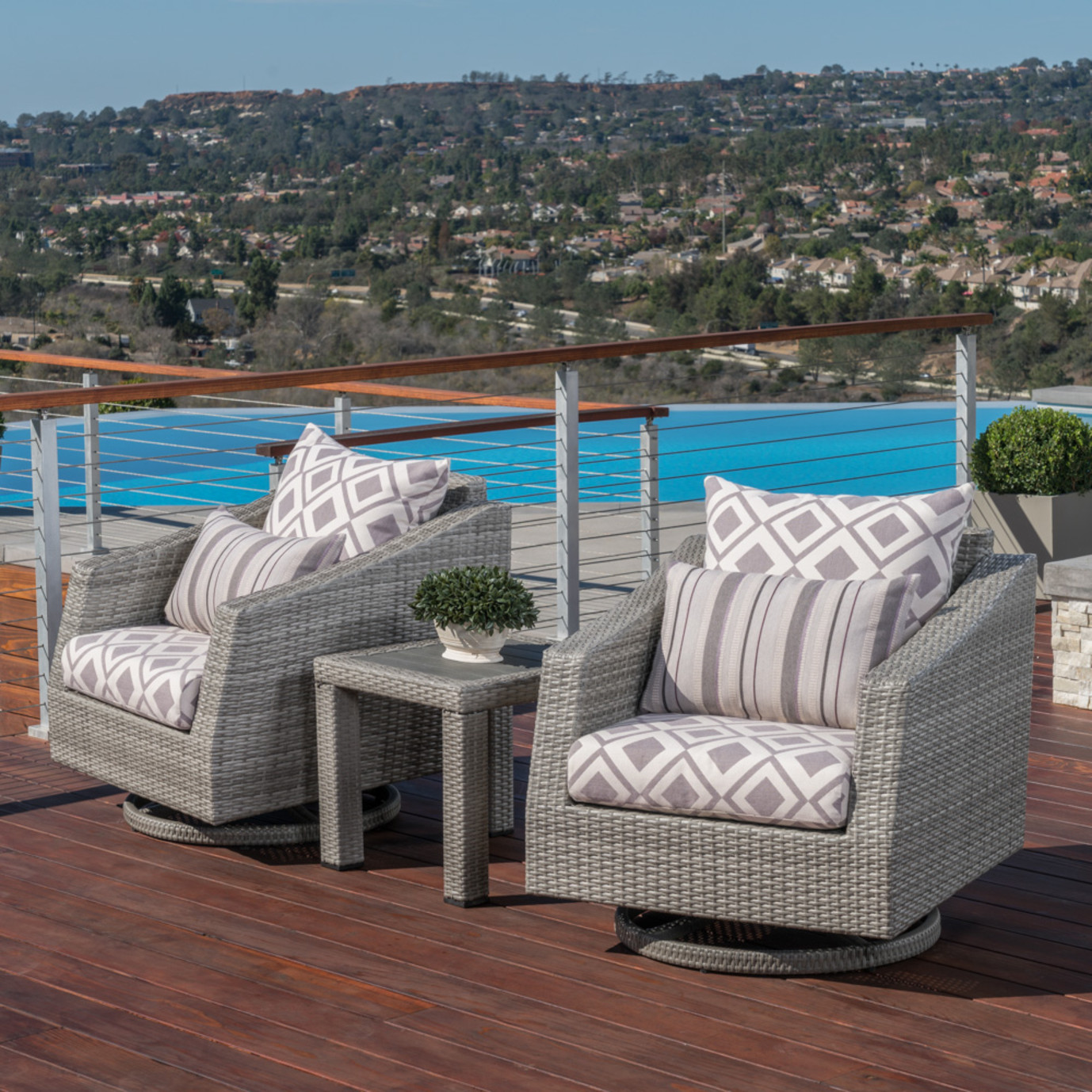 Cannes™ Deluxe Motion Club Chairs & Side Table - Wisteria Lavender
