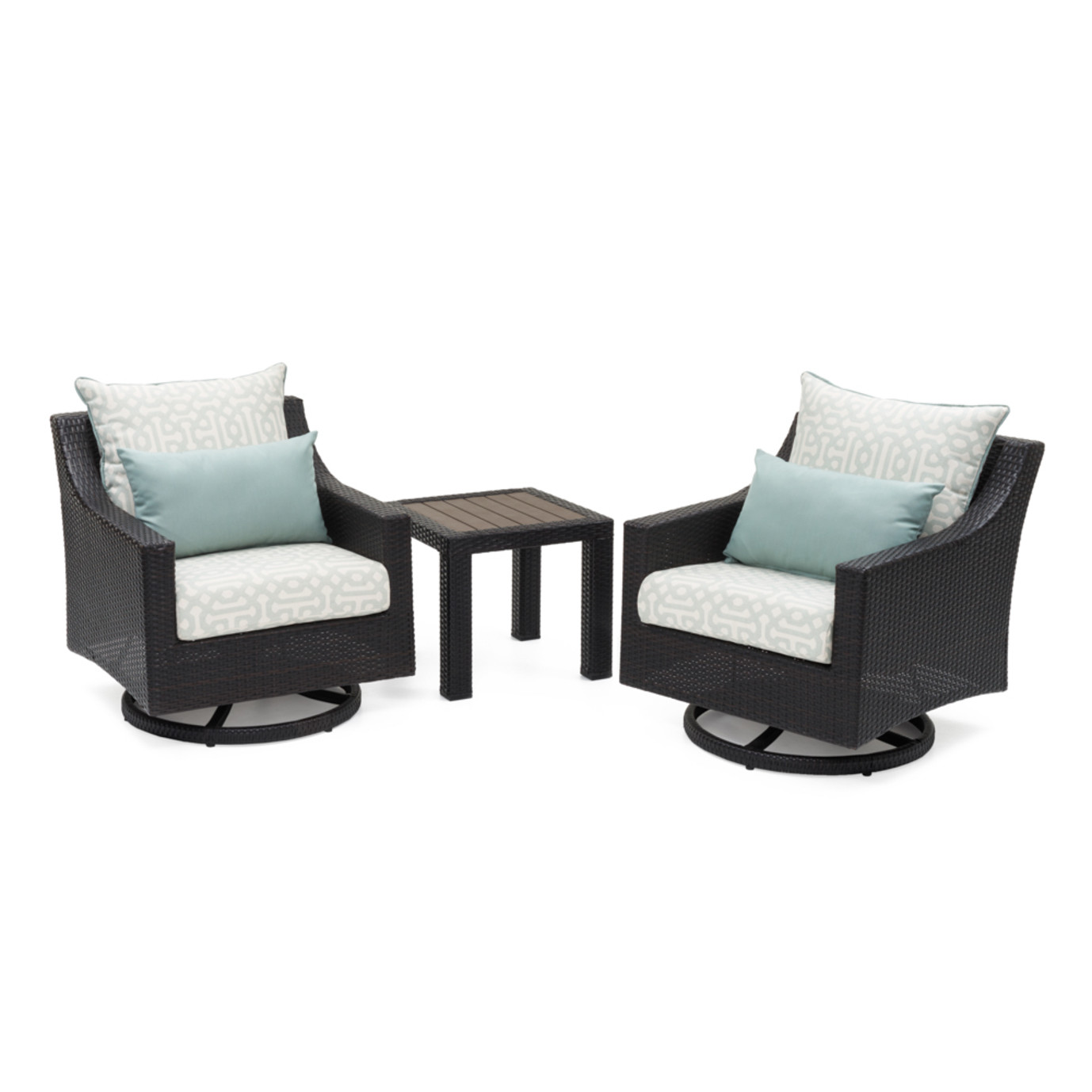 Deco™ Deluxe Motion Club Chairs & Side Table - Spa Blue