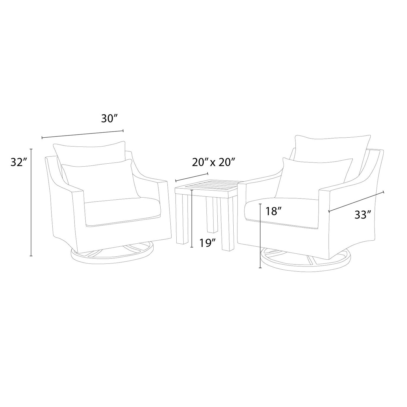 Deco™ Deluxe Motion Club Chairs & Side Table - Wisteria Lavender