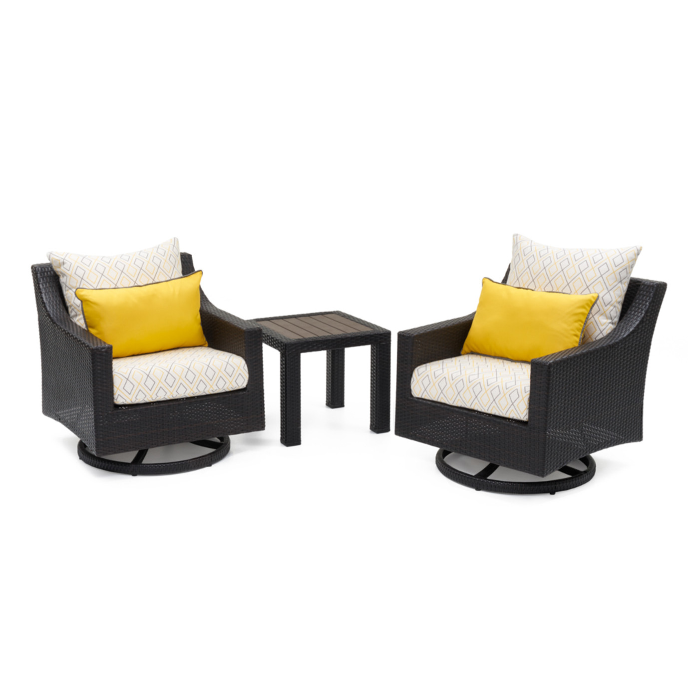 Deco™ Deluxe Motion Club Chairs & Side Table - Sunflower Yellow