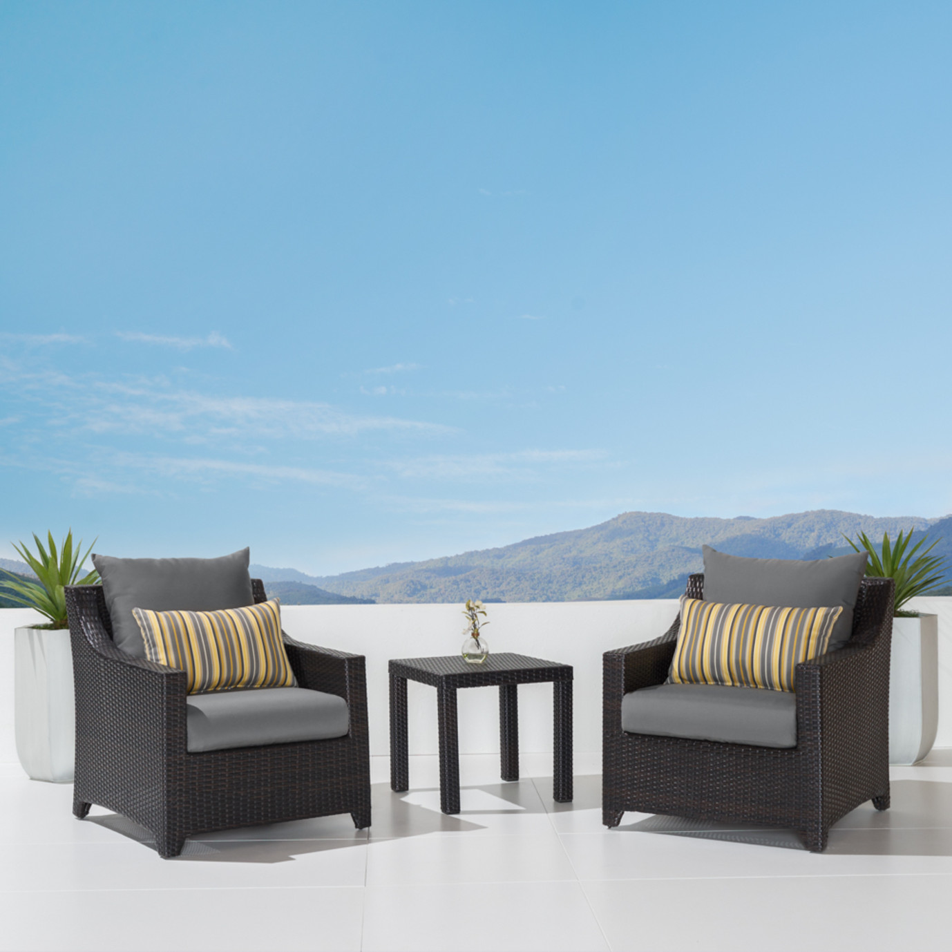 Deco™ Club Chairs and Side Table - Charcoal Grey