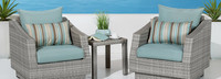 Cannes™ Club Chairs and Side Table - Bliss Blue