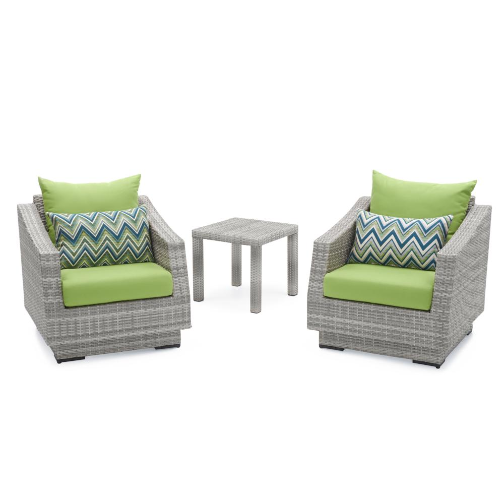 Cannes Club Chairs & Side Table - Ginkgo Green