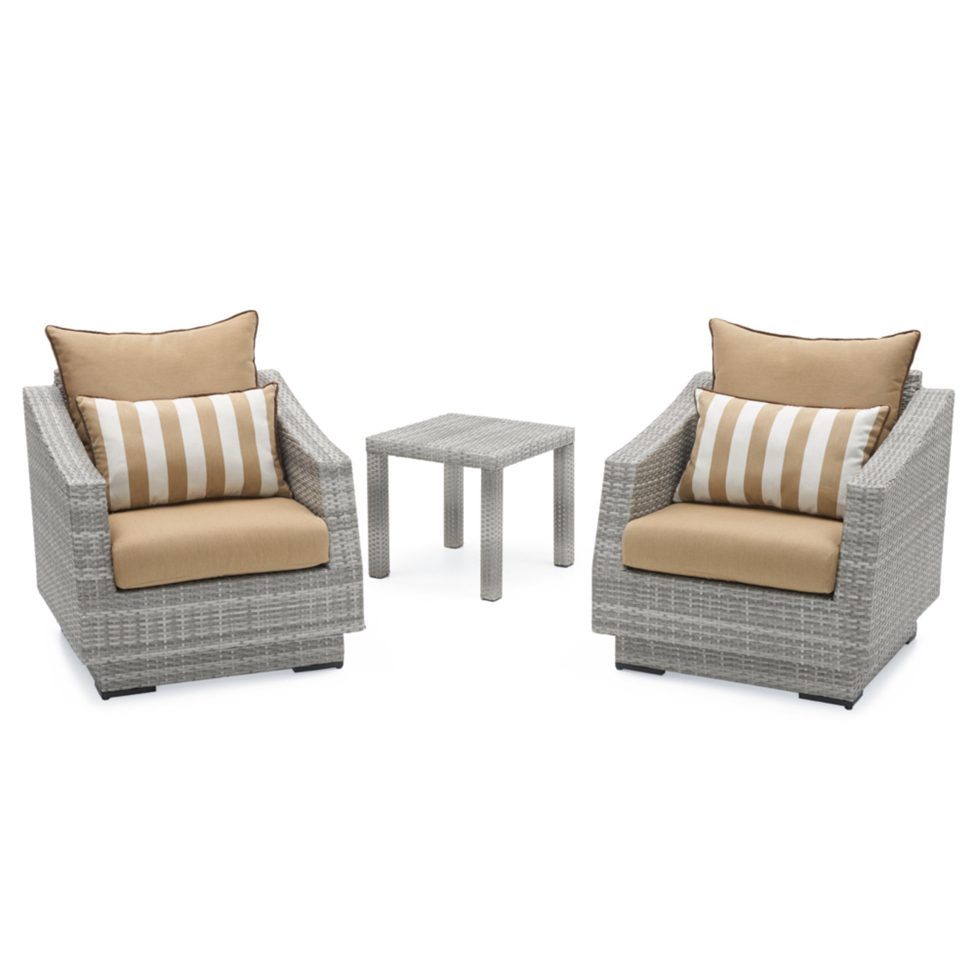 Cannes™ Club Chairs & Side Table - Maxim Beige