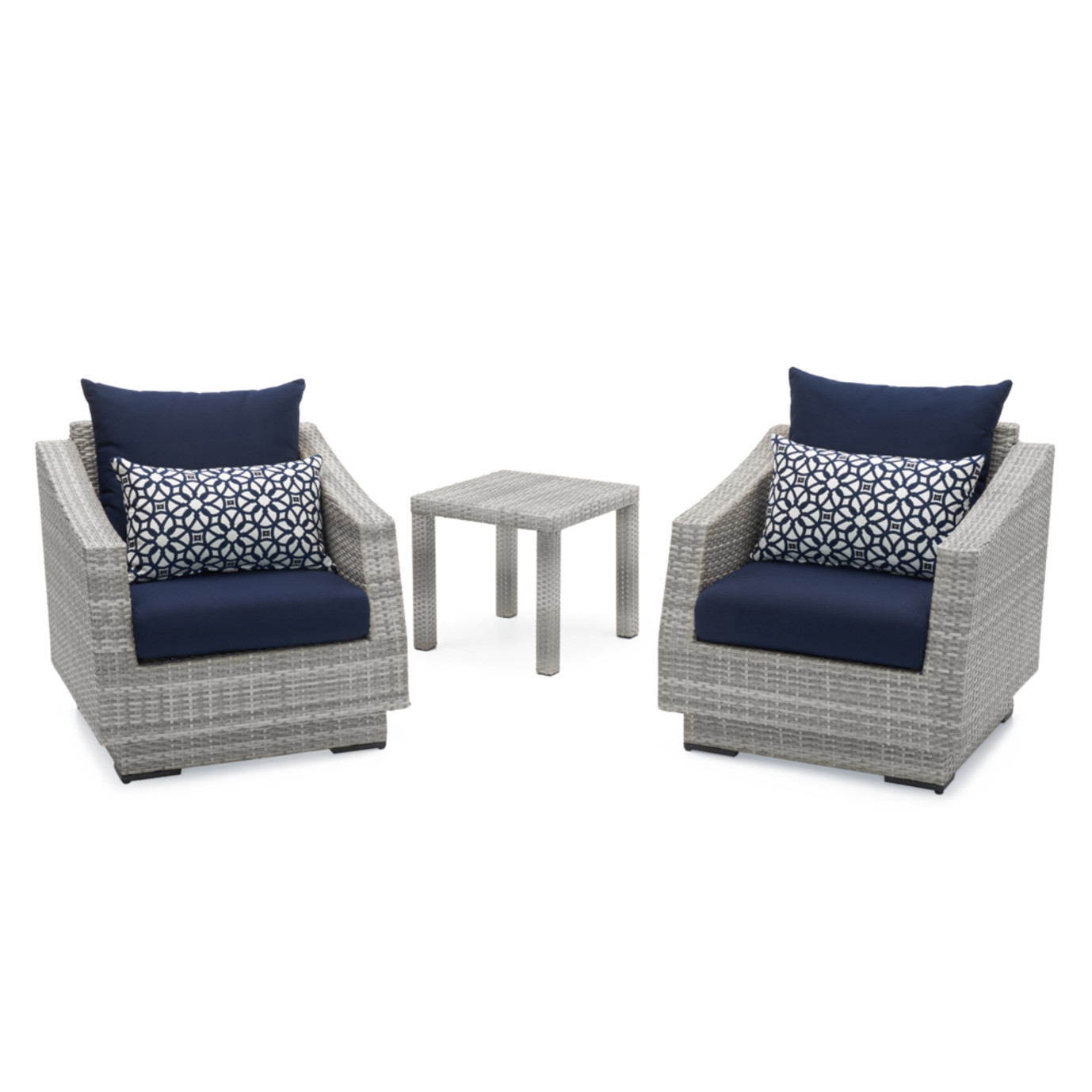 Cannes™ Club Chairs and Side Table - Navy Blue