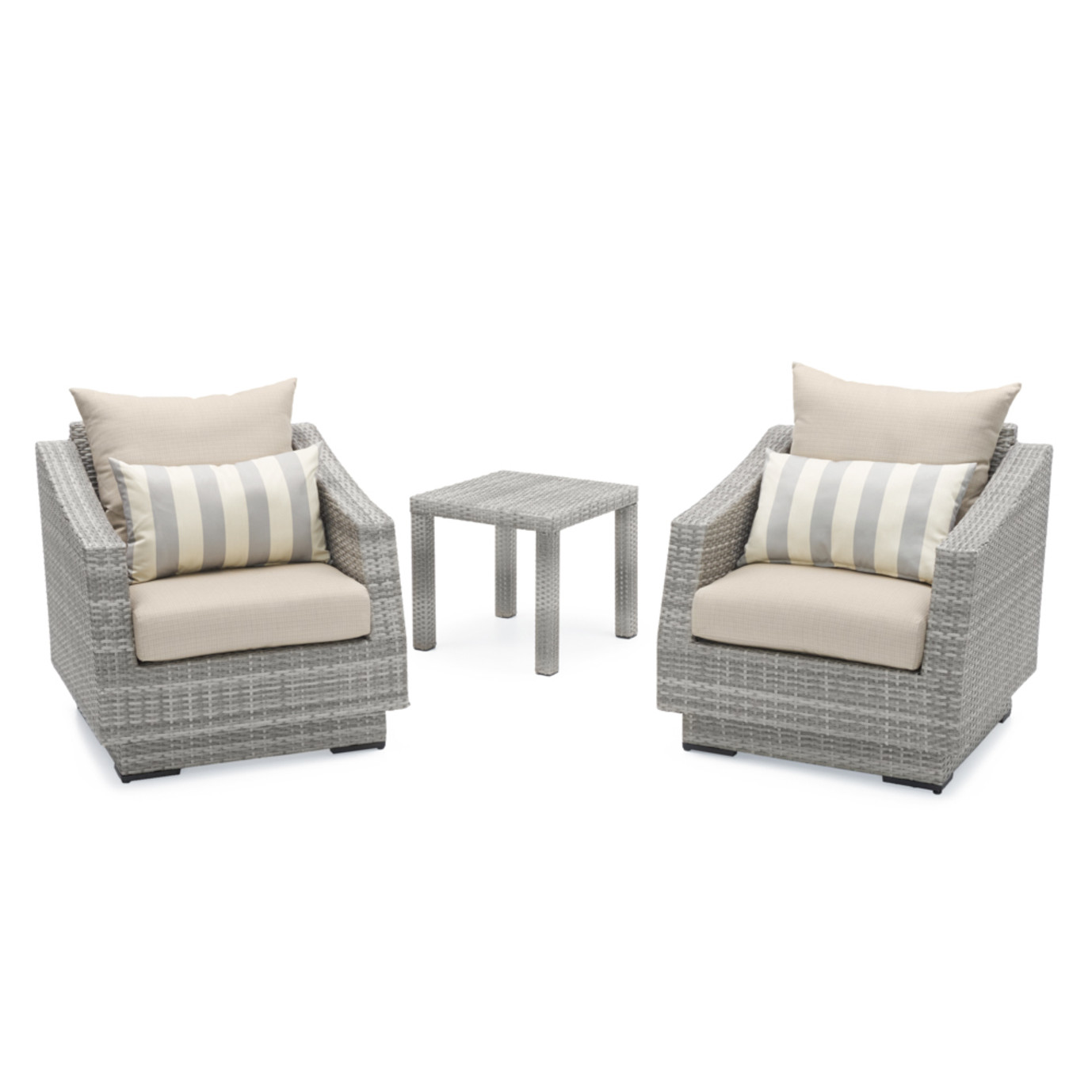 Cannes™ Club Chairs and Side Table - Slate Gray