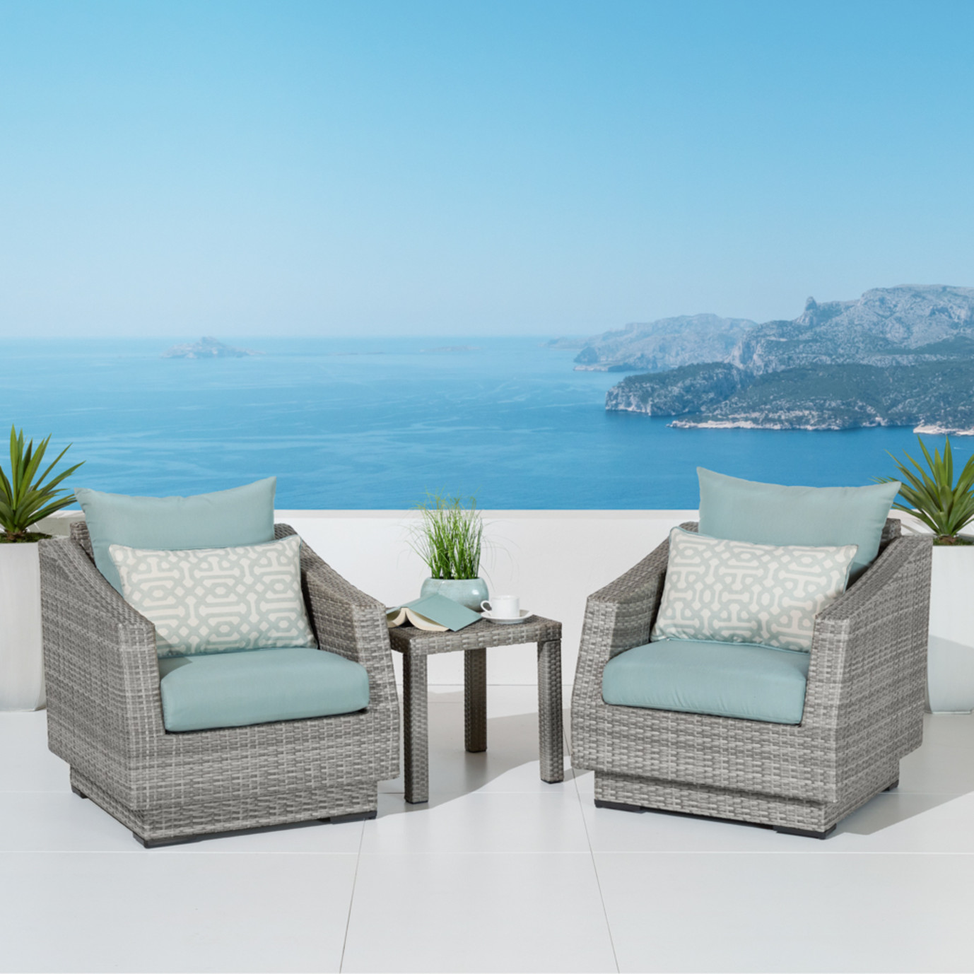 Cannes Club Chairs Amp Side Table Spa Blue Rst Brands