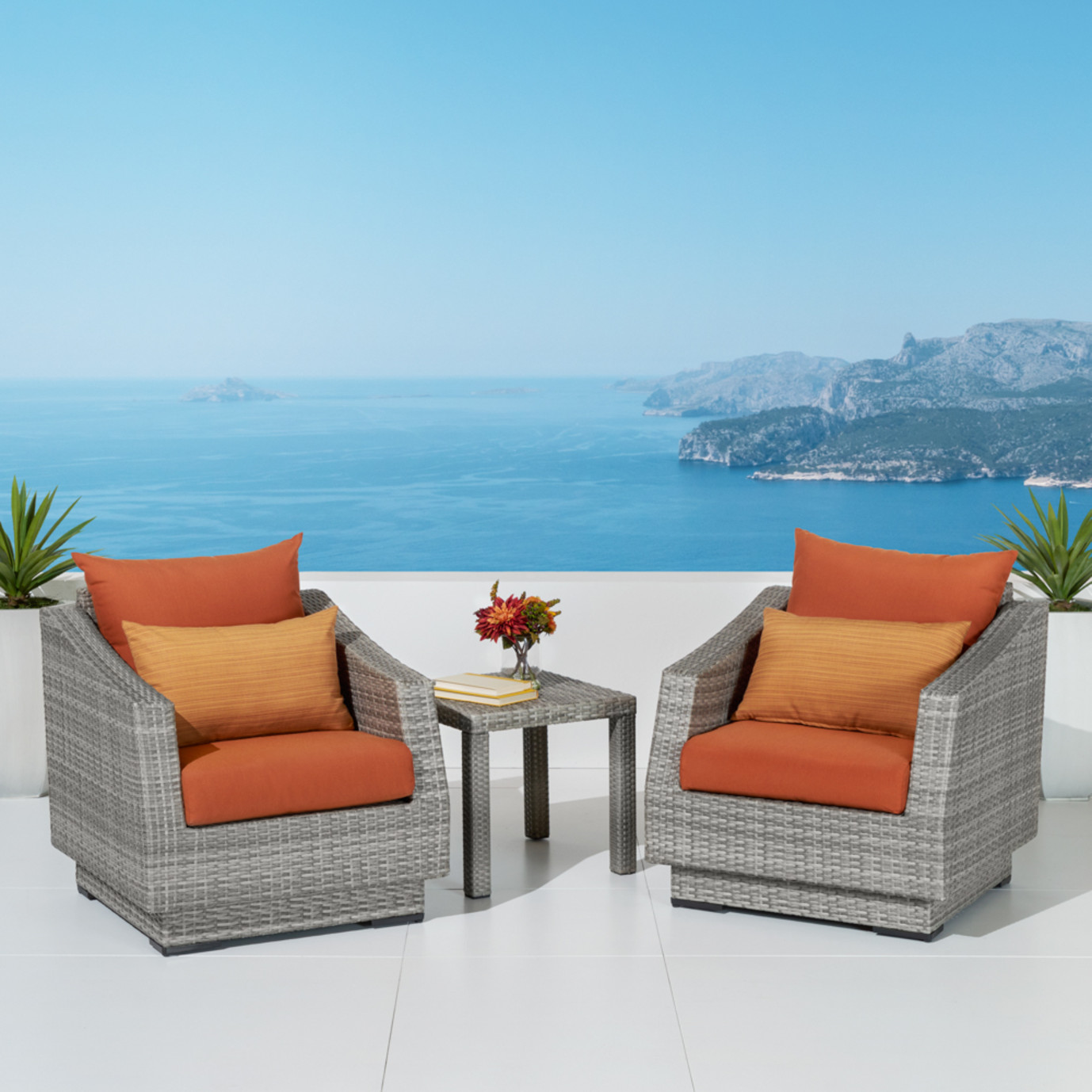 Cannes™ Club Chairs and Side Table - Tikka Orange