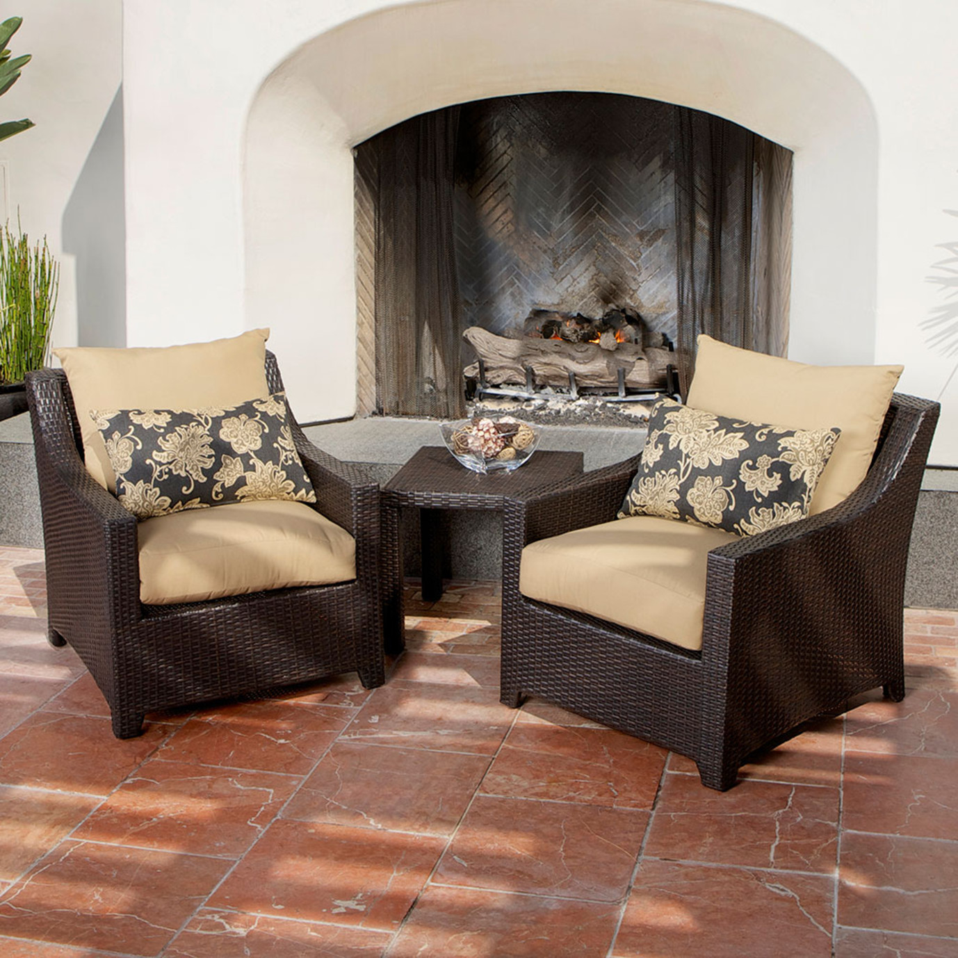 Deco Club Chairs and Side Table - Delano Beige