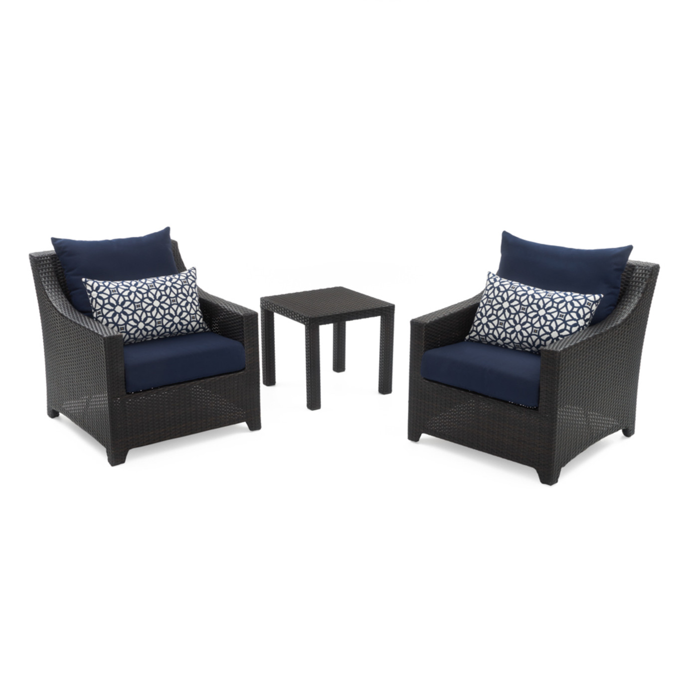 Deco Club Chairs And Side Table Navy Blue Rst Brands