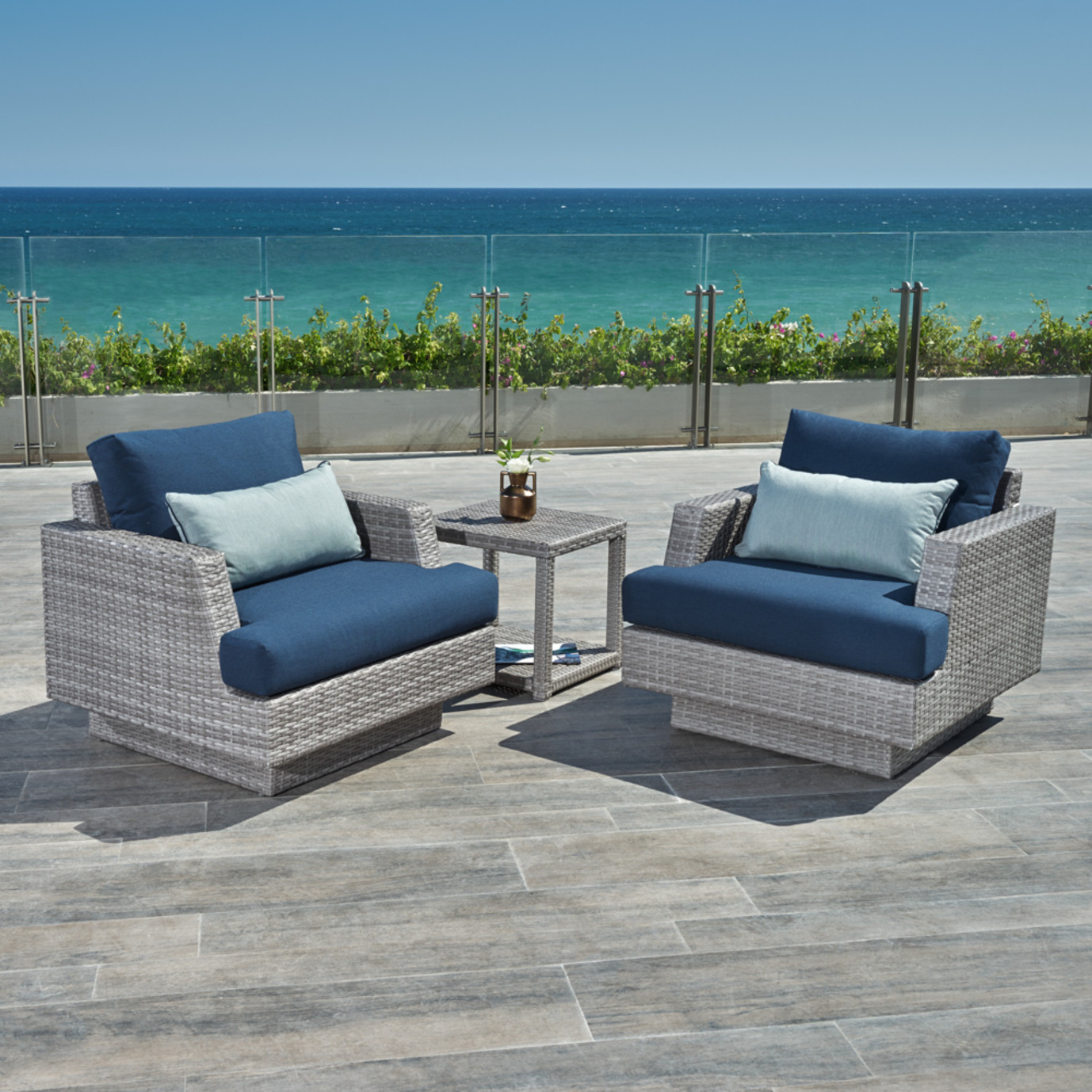 Portofino™ Comfort Club Chairs with Side Table - Laguna Blue