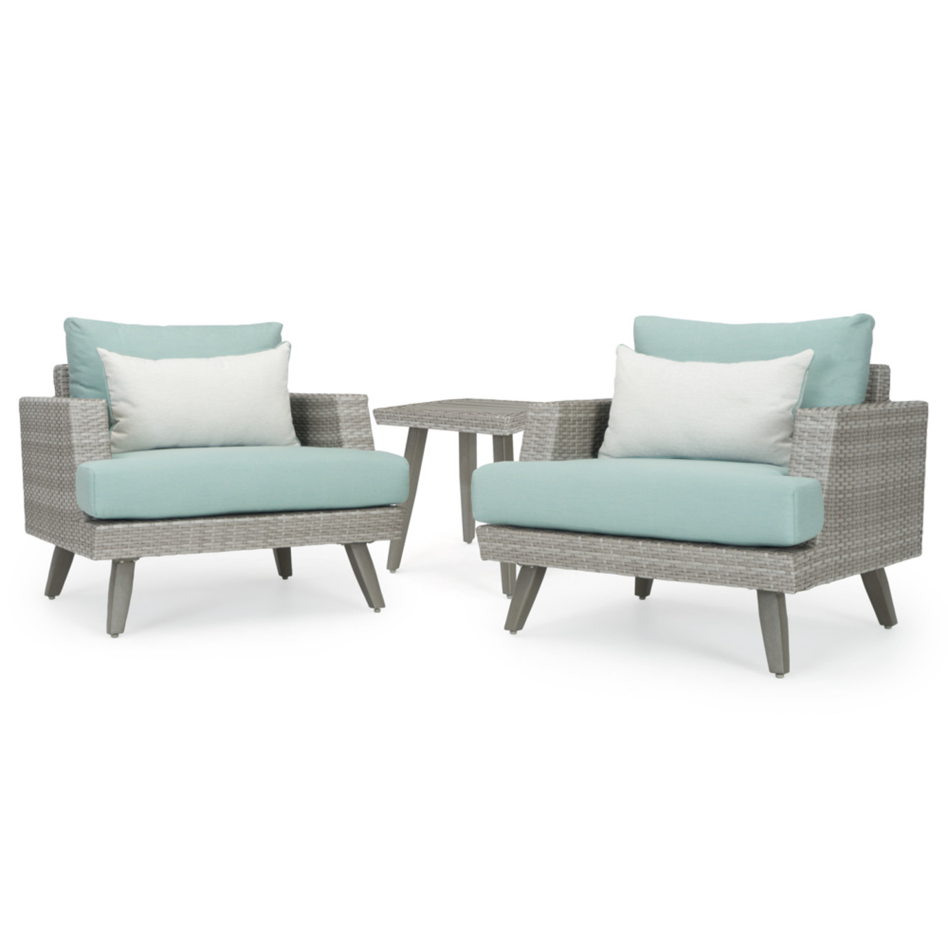 Portofino® Casual Club Chairs with Side Table - Spa Blue