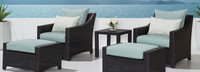 Deco™ 5 Piece Club Chair and Ottoman Set - Bliss Blue