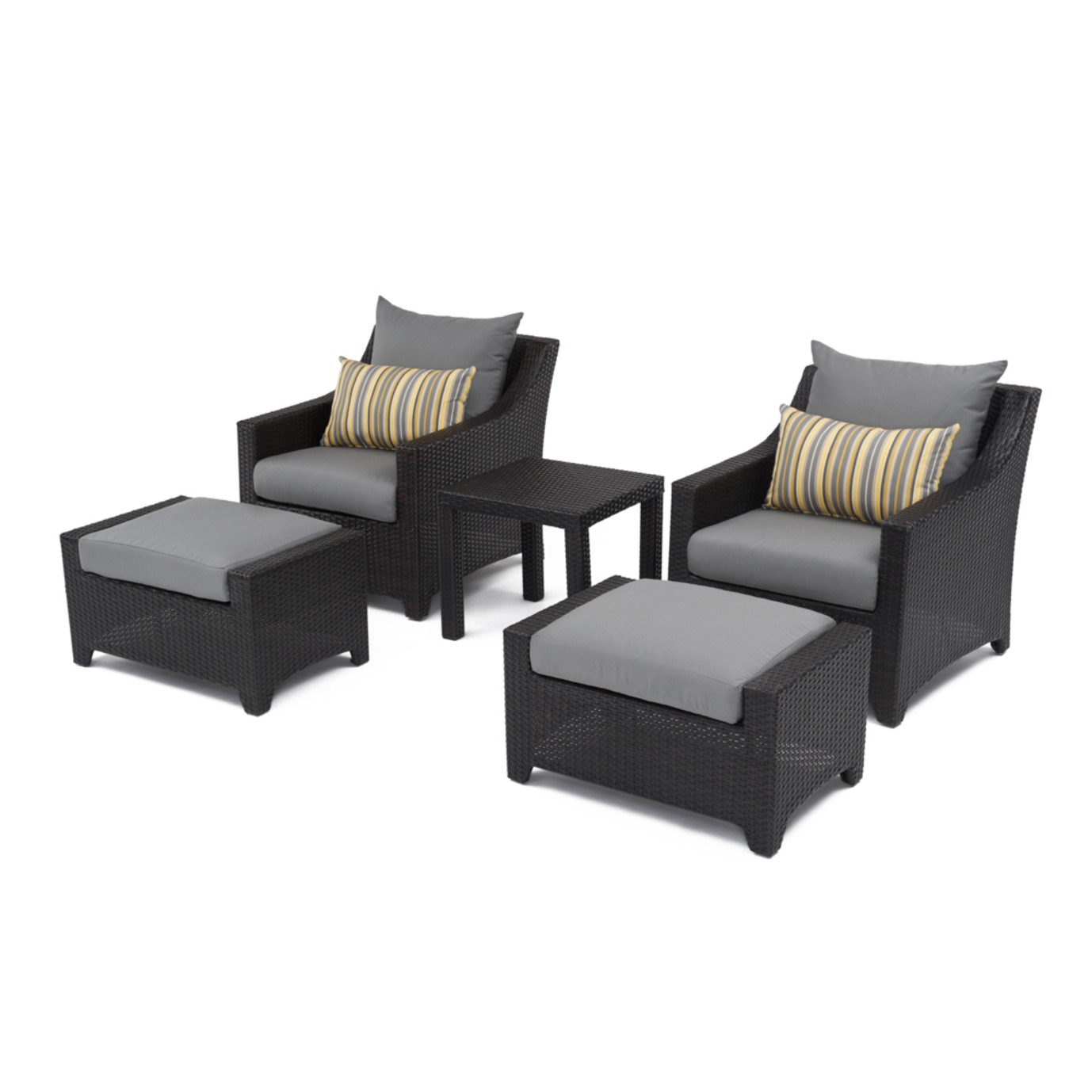 Deco™ 5pc Club Chair and Ottoman Set - Charcoal Grey