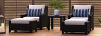 Deco™ 5 Piece Club Chair & Ottoman Set - Centered Ink