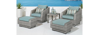 Cannes™ 5 Piece Club Chair and Ottoman Set - Bliss Blue