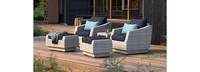 Cannes™ 5 Piece Club Chair & Ottoman Set - Blue