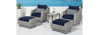 Cannes™ 5 Piece Club Chair and Ottoman Set - Navy Blue