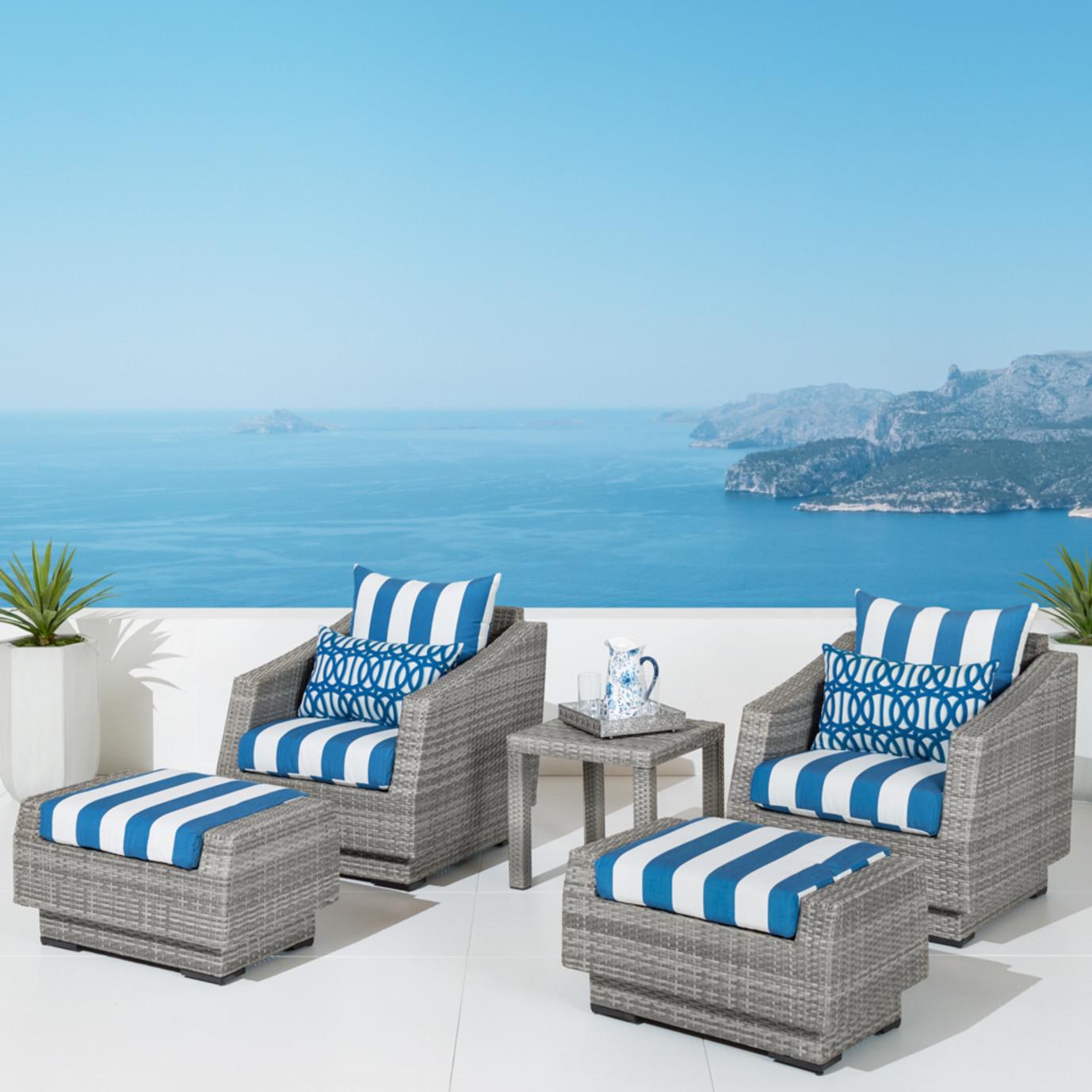 Cannes™ 5pc Club Chair and Ottoman Set - Regatta Blue