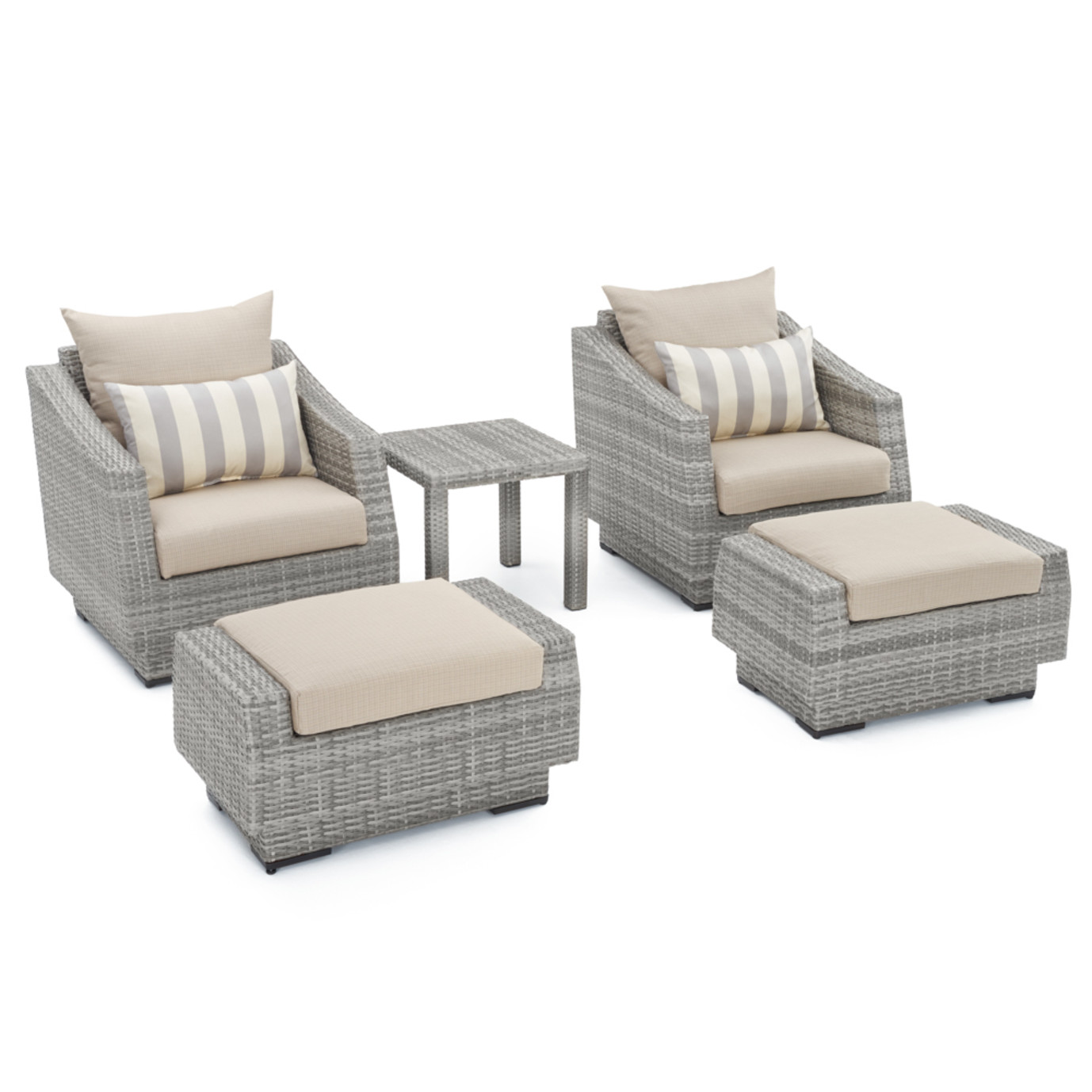 Cannes™ 5pc Club Chair and Ottoman Set - Slate Gray