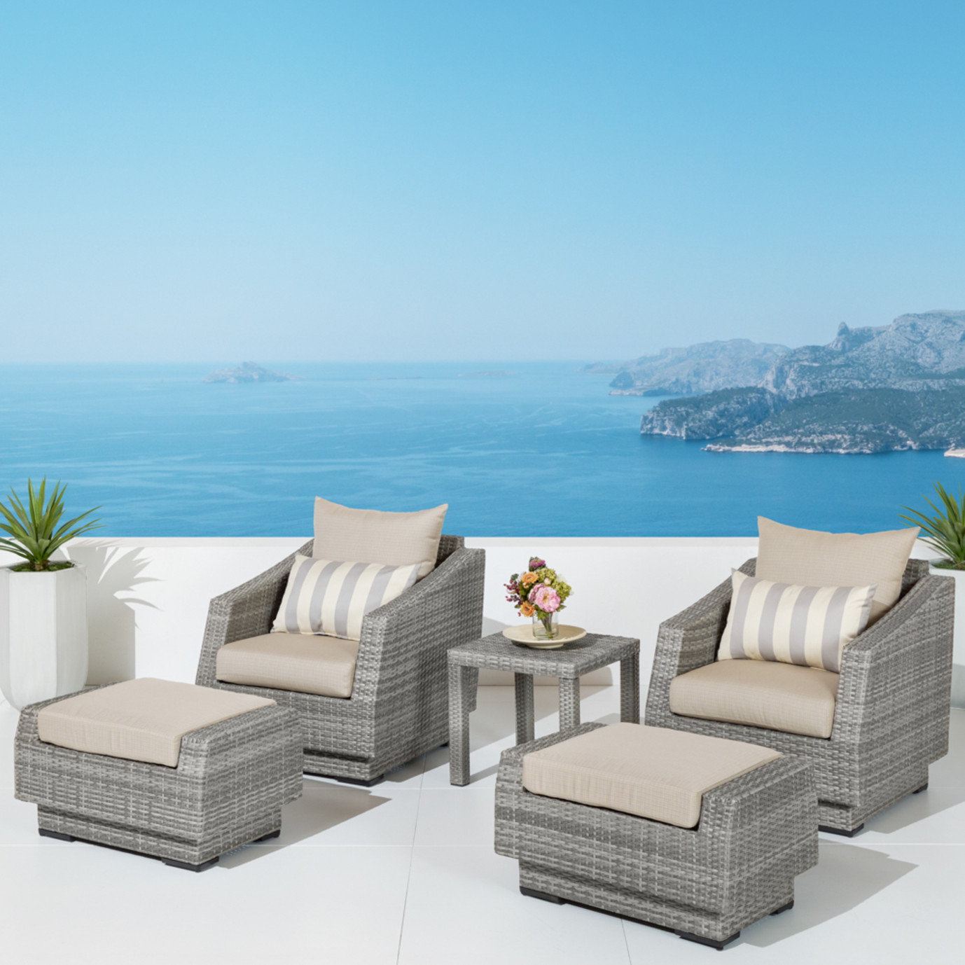 Cannes™ 5pc Club Chair and Ottoman Set - Slate Grey