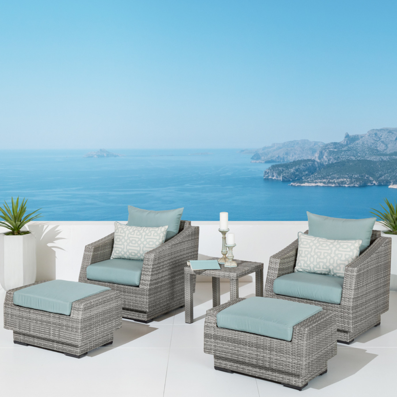 Cannes™ 5 Piece Club Chair & Ottoman Set - Spa Blue