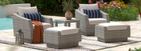 Cannes™ 5 Piece Club Chair & Ottoman Set - Sunset Red