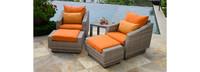 Cannes™ 5 Piece Club Chair and Ottoman Set - Tikka Orange
