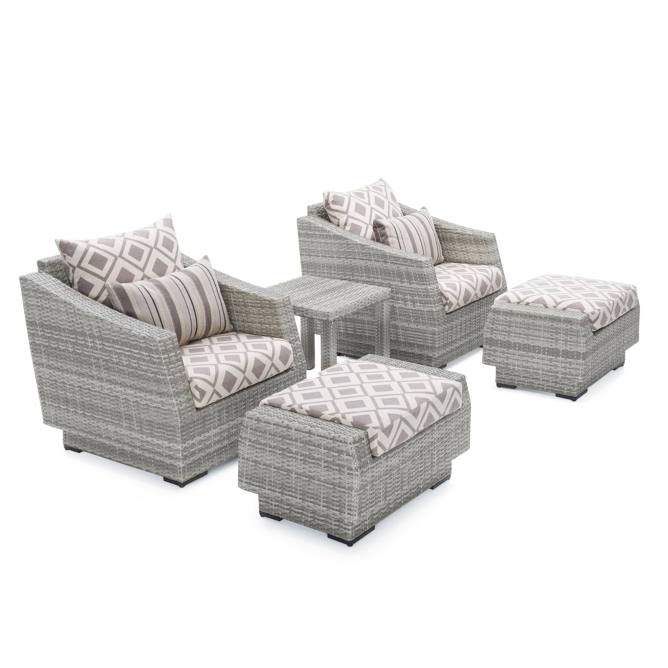 Cannes™ 5pc Club Chair & Ottoman Set - Wisteria Lavender